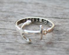 Personalized Anchor Sterling silver ring - Hebrews 6:19 Navy - USN - Military - Customizable - Anchors - Anchor Jewelry