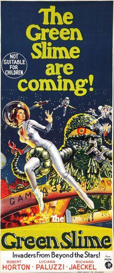 Increíblemente sugerente póster de doble sentido para The Green Slime are coming!