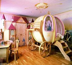20 Insanely Cool Beds for Kids  Who thinks that carriage could use some MONSTER TRUCK WHEELS?