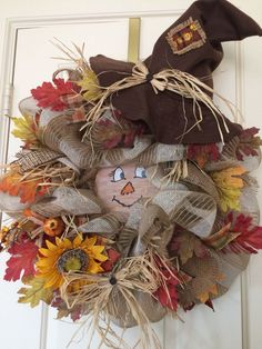 Excited to share this item from my shop: Fall Wreath ,Scarecrow Fall Wreath,Thanksgiving Wreath,Country Wreath Thanksgiving Crafts, Fall Crafts, Holiday Crafts, Diy Fall Wreath, Autumn Wreaths, Holiday Wreaths, Wreath Ideas, Country Wreaths, Country Crafts
