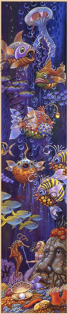 ᖴíʂɧ TɑƖєʂ ('Fish Gazing' by Randal Spangler) Bordados Tambour, Wal Art, Red Fish Blue Fish, Randal, Fish Art, Whimsical Art, Fabric Painting, Painting Inspiration, Zentangle