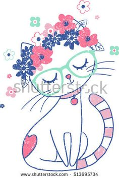 Find Cute Cat Floral Crown Vintage Illustration stock images in HD and millions of other royalty-free stock photos, illustrations and vectors in the Shutterstock collection. Cute Cat Drawing, Cute Drawings, Art Mignon, Car Illustration, Girl Illustrations, Cat Room, Holly Hobbie, Cute Cars, Kids Prints