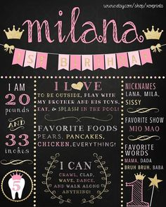 Pink and Gold Princess First Birthday Printable Chalkboard by xoxprints $11.00