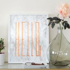 Super easy photo tutorial for a chic diy wall art, using two of the hottest trends: marble & copper (in Greek)
