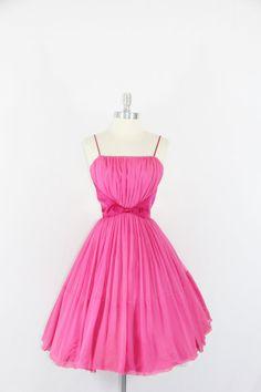 1950's Hot Pink Vintage Prom Dress - HOT PINK Silk Chiffon Sexy Prom Party Dress