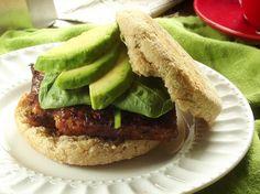 Savory tempeh sandwich. Soy, maple, paprika sauce