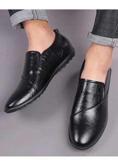 Black sewed style leather slip on shoe loafer in plain Mens Slip On Loafers, Mens Slip On Shoes, Black Slip On Shoes, Leather Slip On Shoes, Loafers Men, Shoe Shop, Loafer Shoes, Shoes Online, Men's Fashion
