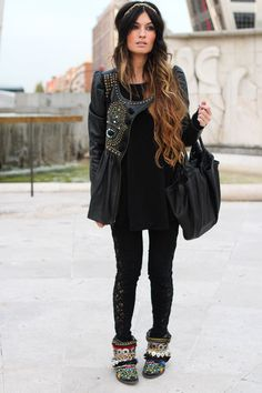 Maybe not quite that coat or boots, but definitely the black on black! AND I hope to have my hair as long as hers so my ombre is just as amazing!