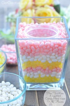 Baby shower centerpieces candy jelly beans ideas for 2019 Easter Brunch, Easter Party, Easter Table, Hoppy Easter, Easter Eggs, Holiday Crafts, Holiday Fun, Diy Easter Decorations, Easter Centerpiece