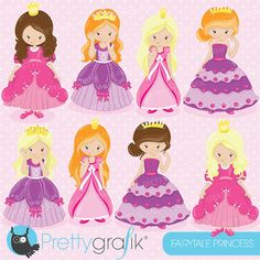 80% OFF SALE Fairytale princess clipart for by Prettygrafikdesign