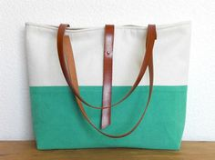 Tote bag with leather handles  Two tone aqua green by MeryBradley, €55.00