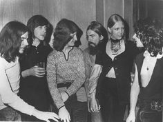 my-mind-candy:  George Harrison, Pattie Boyd, and the members of Badfinger. Year unknown, but I'd guess '71-ish.  November 24, 1970 - George and Pattie visiting Badfinger in their backstage dressing room on the night of their debut at the Ungano Club in New York City. (L to R) Drummer Mike Gibbons, Joey Molland, Pete Ham, George & Pattie Harrison, and Tom Evans. Photo published in Jazz & Pop magazine, February 1971.