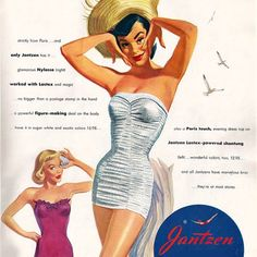 Detail Of Jantzen Lastex Powered Figure Maker 1951 - Out of 10.000 the www.MadMenArt.com Vintage Ad Art Collection features founder's absolute favorite designs. #Vintage #Ads #VintageAds #Design #Posters #MagazineCovers #Illustrations #Favorites #MyFavorites
