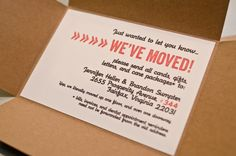 Cardboard Box Moving Announcements - Set of 10. $30.00, via Etsy.