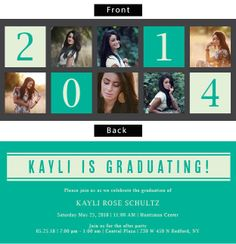 Square Collage Photo Graduation Announcements.