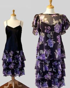 1980's Dress / Black & Purple Tiered Party by DuncanLovesTess, $34.00