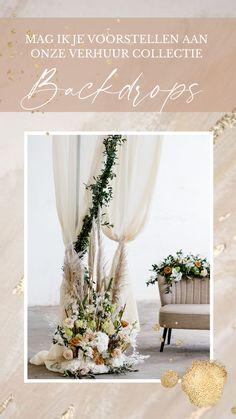 Huur eenvoudig de mooiste backdrops voor je bruiloft of feest. Kijk in de webshop voor onze collectie.
