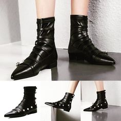 New black flat quality ankle . Witch Fashion, Dark Fashion, Emo Fashion, Gothic Fashion, Black Booties, Black Flats, Punk Rock Girls, Combat Boots, Ankle Boots