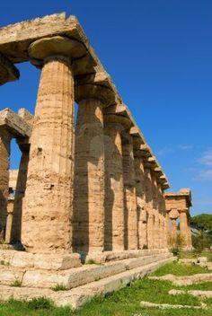 Una veduta di Paestum Tempio, Salerno, Italia