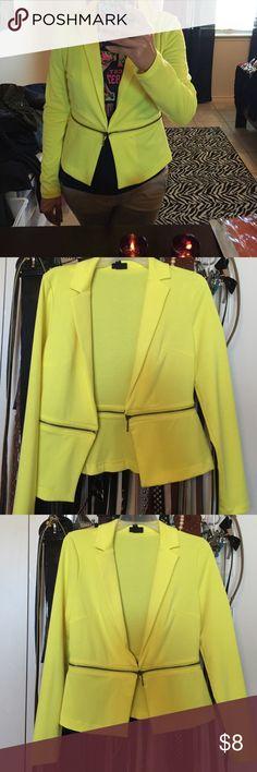 Super fashiony blazer! Zipper accent bright yellow long sleeve blazer /jacket. Mossimo Supply Co. Jackets & Coats Blazers
