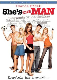 She's the Man - A 2006 American romantic comedy film directed by Andy Fickman, inspired by William Shakespeare's play Twelfth Night. The film stars Amanda Bynes, Channing Tatum, Laura Ramsey, and Vinnie Jones. Amanda Bynes, Man Movies, Funny Movies, Great Movies, Awesome Movies, See Movie, Movie List, Movie Tv, Movies Showing
