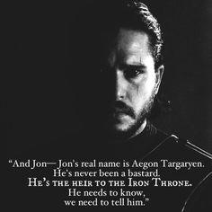 Jon Snow/Aegon Targaryen, the true heir to the iron throne. Edit by Vishay Soni.