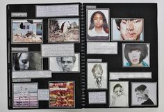 A2 Graphic Communication, A3 Black Sketchbook, Brainstorm, CSWK Theme 'Flaws, Perfections, Ideals and Compromises', Thomas Rotherham College, 2015-16
