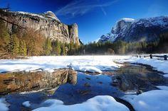 A gleccservájta Yosemite-völgy (USA) télen is gyönyörű. Fotó: http://www.fotopedia.com/wiki/Yosemite_Valley