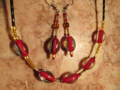 Chic/ Elegant/ Lady's/ Red/ Necklace/ Set/ Festive/ GIFT/ FOR/ HER/ Beautiful/ Gorgeous/ Handmade/ Czech/ Glass/ Artisan/ Woman/ Jewelry