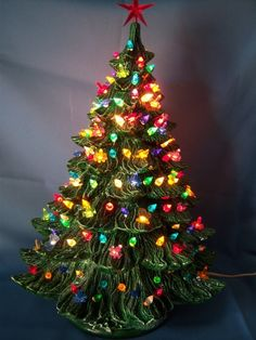 "Vintage Ceramic 24"" Musicial ""Silent Night"" Green Christmas Tree Lots of Lights. So Pretty!"