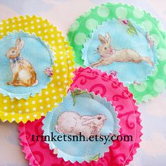 Fabric Applique Easter Bunnies Embellishment Set of by trinketsnh, $6.75
