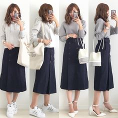 "4,157 curtidas, 14 comentários - Miyo (@miyopu) no Instagram: ""20182.27 * グレー×ネイビー×ホワイト💙 * パーカー…#UNIQLO#ユニクロ#UNIQLOU トレンチスカート… @equlat ドルマンスリーブニット…#titivate…"" Skirt Fashion, Fashion Outfits, Womens Fashion, Japan Fashion, Cool Outfits, Asian, My Style, Sneakers, Skirts"