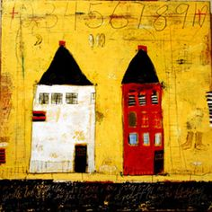 """2 Houses on Main"" - 12"" x 12"" - oil/mixed media/canvas mary scrimgeour"