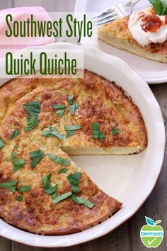 Pack on the protein at breakfast! This Southwest Style Quick Quiche will only take you 15 minutes to prep and will be your new favorite go-to Sunday brunch recipe. Made with eggs, green chilis, cottage cheese and shredded cheese, what could be better?