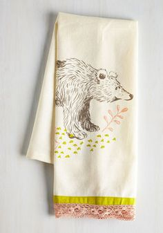 All Good in the Woods Tea Towel in Bear