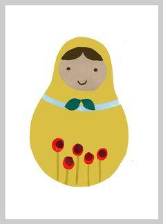 Matryoshka Russian Nesting Doll Print