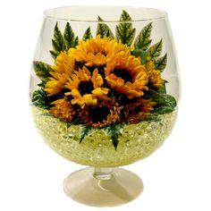 Sunflower Arrangements, Creative Flower Arrangements, Vase Arrangements, Sunflower Wedding Decorations, Diy Spring Wreath, Glass Centerpieces, Flower Bowl, Ikebana, Diy Flowers