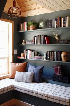 The Finished Reading Nook at the A-Frame! - FrogTape® Paintover Challenge™ Reveal - Chris Loves Julia Corner Bookshelves, Bookcase, Book Shelves, Cozy Corner, Cozy Nook, Book Nooks, Reading Nooks, Cool Diy, Victorian Tapestries