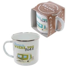 Click and shop now for Fun Enamel Mug - Home is Where You Park It by weeabootique