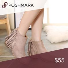 •COMING SOON• Taupe Suede Fringe Ankle Booties Brand new. The price will be $55. Comment below for arrival notification.⬇️ Shoes Ankle Boots & Booties