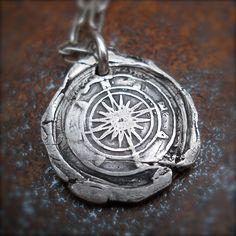 COMPASS Handmade Silver Wax Seal Jewelry, Mens Pendant, CELEBRITY Jewelry. True NORTH, Travelers Talisman