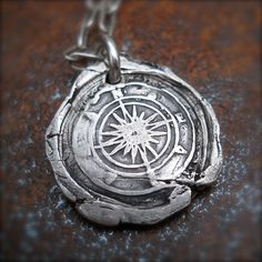 COMPASS Handmade Silver Wax Seal Jewelry, Mens Pendant, CELEBRITY Jewelry. True NORTH, Travelers Talisman