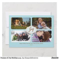 Shop Frames of Joy Holiday created by classycelebrations. Modern Christmas Cards, Family Christmas Cards, Merry Christmas, Joy Holiday, 4 Photos, Any Images, Photo Cards, Happy Holidays, First Love