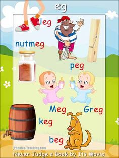 eg sound - words ending in eg poster - Free & Printable - Ideal for classroom books and phonics lessons Phonics Lessons, Phonics Words, Teaching Phonics, Phonics Activities, Teaching Reading, Teaching Kids, Kids Learning, Physical Activities, Kids Education
