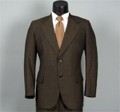 Vintage 1960s Chocolate Brown Pinstriped by jauntyrooster on Etsy, $95.00