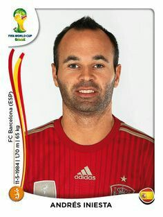 Andres Iniesta of Spain. 2014 World Cup Finals card.