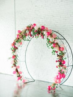 Vibrant pink and fuchsia wedding inspiration at modern, industrial Tampa Bay wedding venue Haus Floral arch ceremony wedding ceremony decor with oversized balloons and fashionable white bride jumpsuit. Wedding Balloon Decorations, Wedding Balloons, Warehouse Wedding, Floral Arch, Balloon Arch, Romantic Weddings, Wedding Venues, Arch Wedding, Wedding Bride