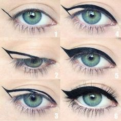 Winged eyeliner is a whole lot easier with this trick. - Caitlin Walker - - Winged eyeliner is a whole lot easier with this trick. Winged eyeliner is a whole lot easier with this trick. Makeup Goals, Love Makeup, Makeup Inspo, Makeup Inspiration, Makeup For Blue Eyes, Makeup Ideas, 50s Makeup, Pin Up Makeup, Vintage Makeup