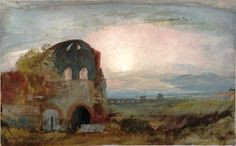 Artwork page for 'The So-Called Temple of Minerva Medica, Rome, at Sunset', Joseph Mallord William Turner, 1819 Turner Watercolors, English Romantic, Joseph Mallord William Turner, English Artists, Landscape Paintings, Oil Paintings, Covent Garden, Ancient Rome, Ciel