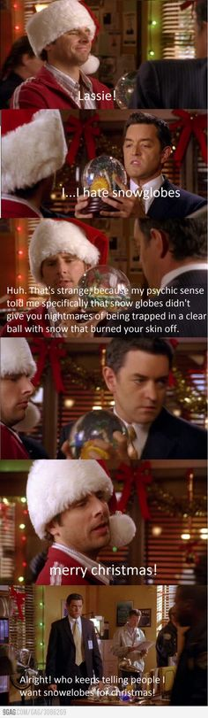 I love psych WAY too much than is healthy for me!! They didnt show Carlton putting the snowglobe on his desk with the other like, 50 snowglobes he got, though. That was funny.